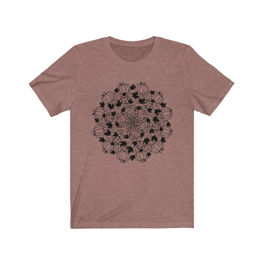 Pumkin Spice Latte Mandala Fall T-Shirt - Short Sleeve Tee
