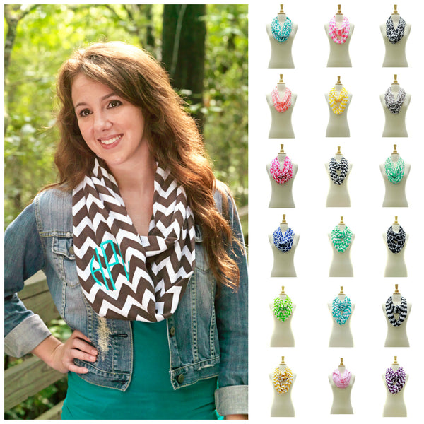 Personalized Infinity Scarf Embroidered Monogram Soft Chevron Moroccan - Gifts Happen Here - 1