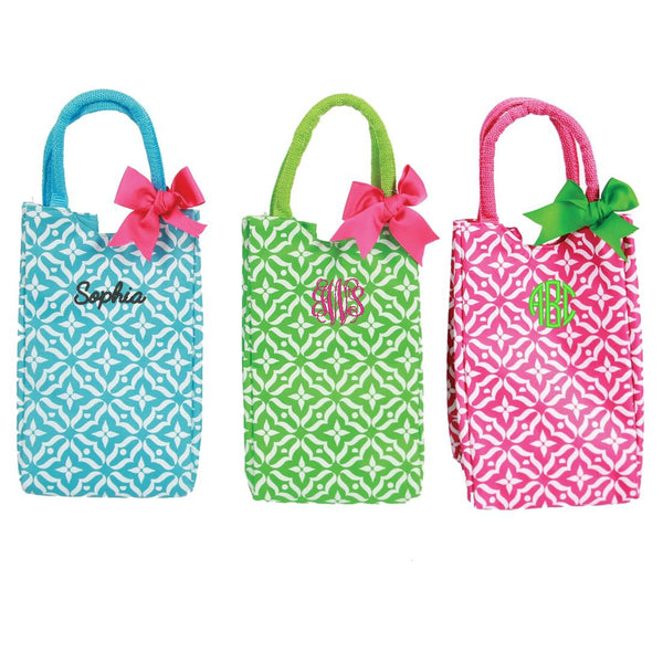 Personalized Bright Geometric Insulated Lunch Tote Bag