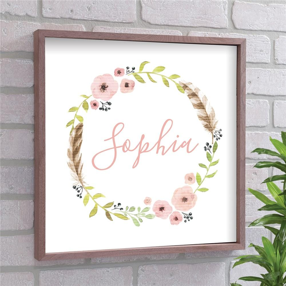 Personalized Flower Wreath Framed Wall Decor - Valentine's Day Gift