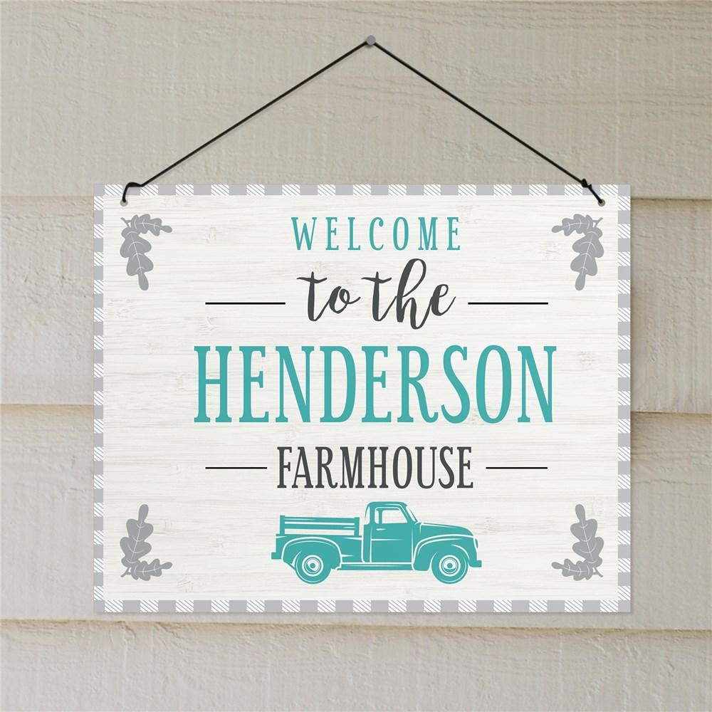 Personalized Welcome To The Farmhouse Gingham Wall Sign