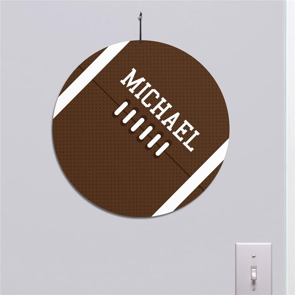 Personalized Football Round Wall Sign