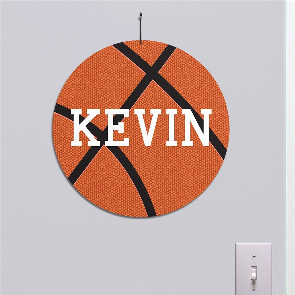 Personalized Basketball Round Wall Sign