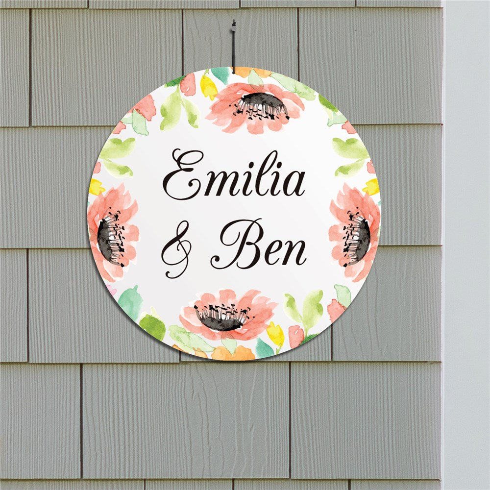 "Personalized Watercolor Floral Frame 13"" Round Circle Sign"