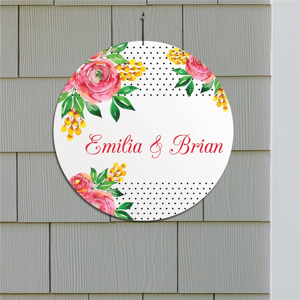 "Personalized Watercolor Floral Background 13"" Round Circle Sign"