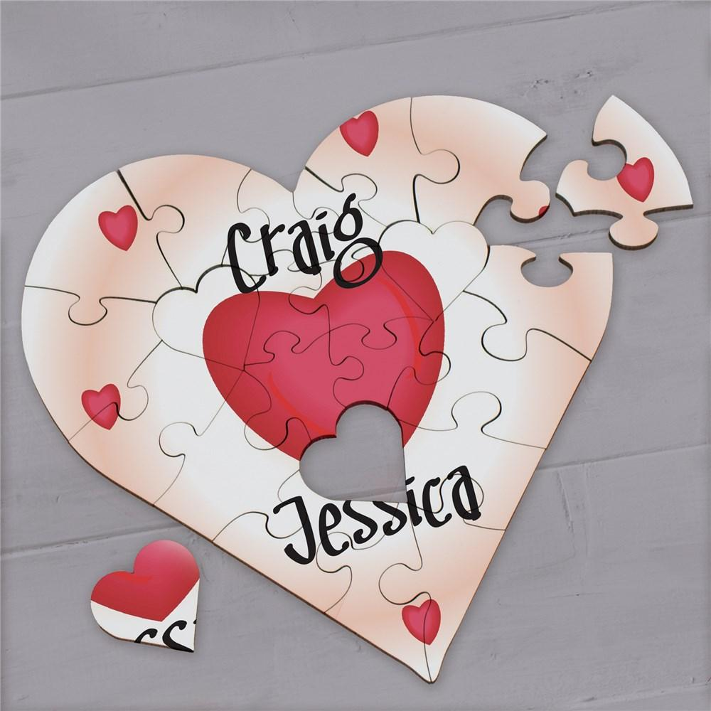 Personalized All Of My Heart - Heart Shaped Wood Jig Saw Puzzle - Valentine's Day Gift