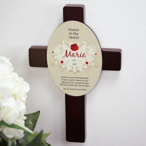 Personalized Forever In Our Hearts Keepsake Wall Cross Sympathy Gift