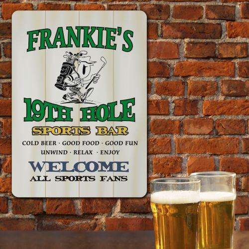 Personalized 19th Hole Sports Bar Wall Sign