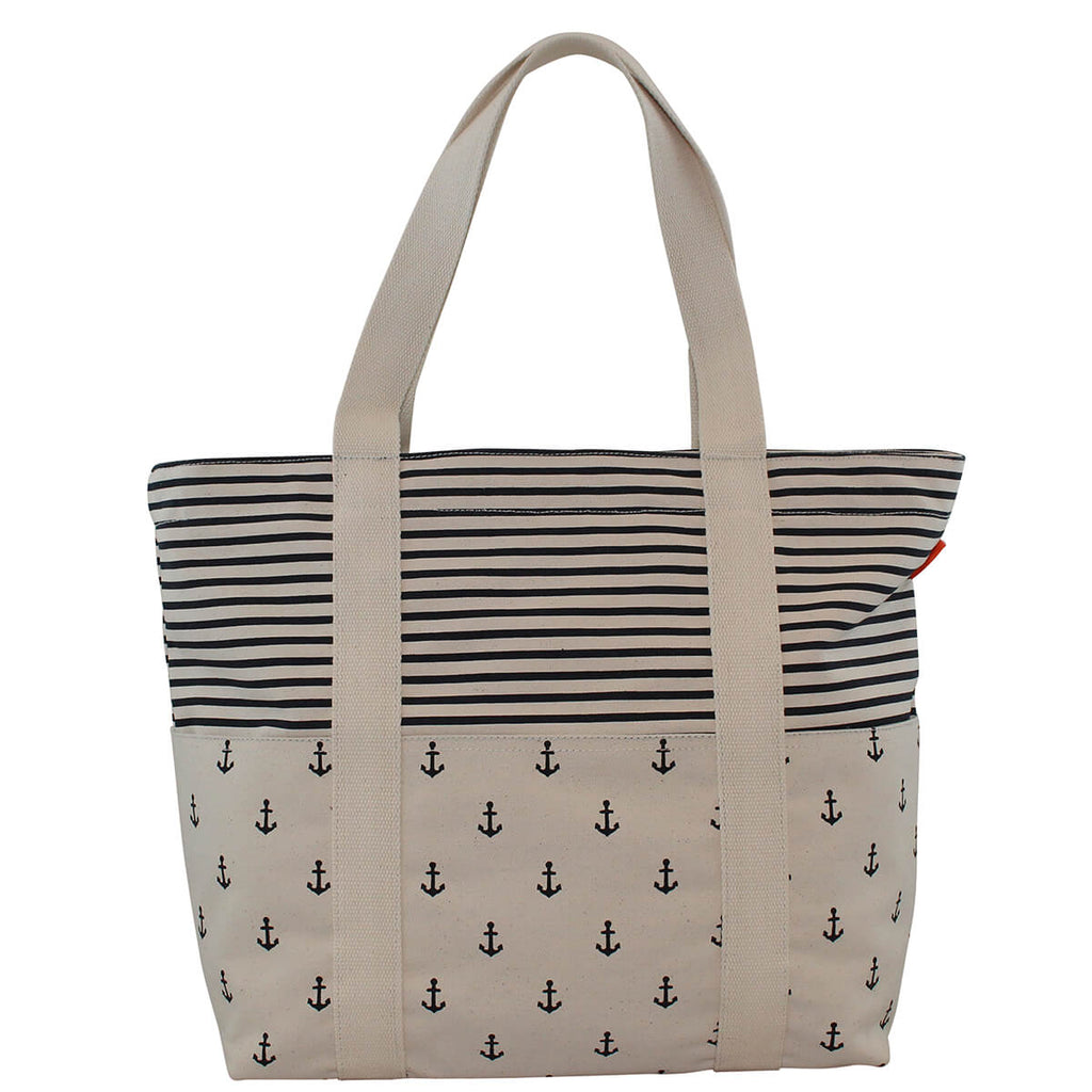 Personalized Carryall Tote Navy Anchors & Navy Stripes