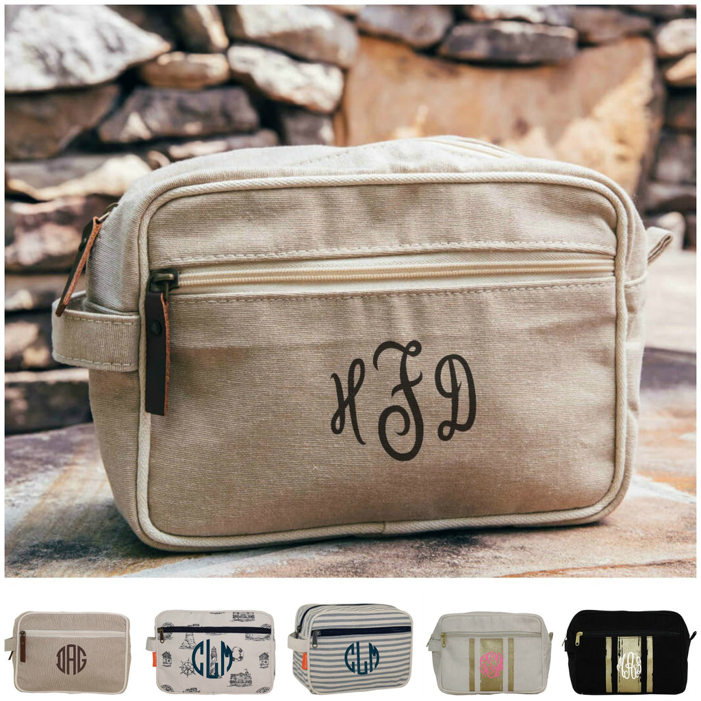 Personalized Brushed Canvas Lined Travel Kit