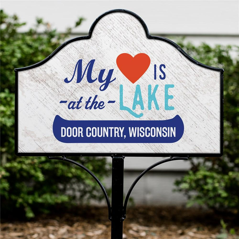 Personalized My Heart Is At The Lake Magnetic Yard Sign
