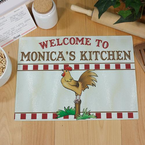 Personalized Rooster Kitchen Personalized Cutting Board