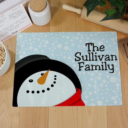 Personalized Snowman Cutting Board