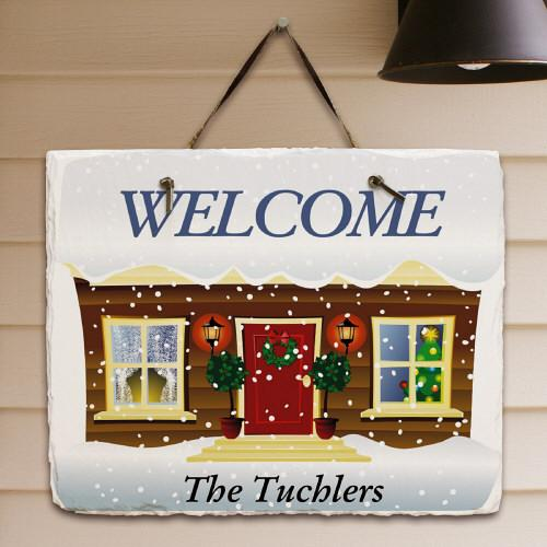 Personalized Winter Welcome Slate Plaque