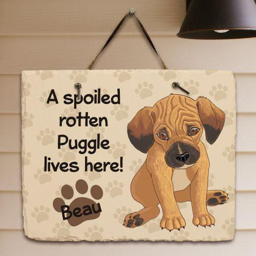 Personalized Puggle Spoiled Here Slate Plaque
