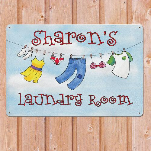 Personalized Laundry Room Metal Wall Sign