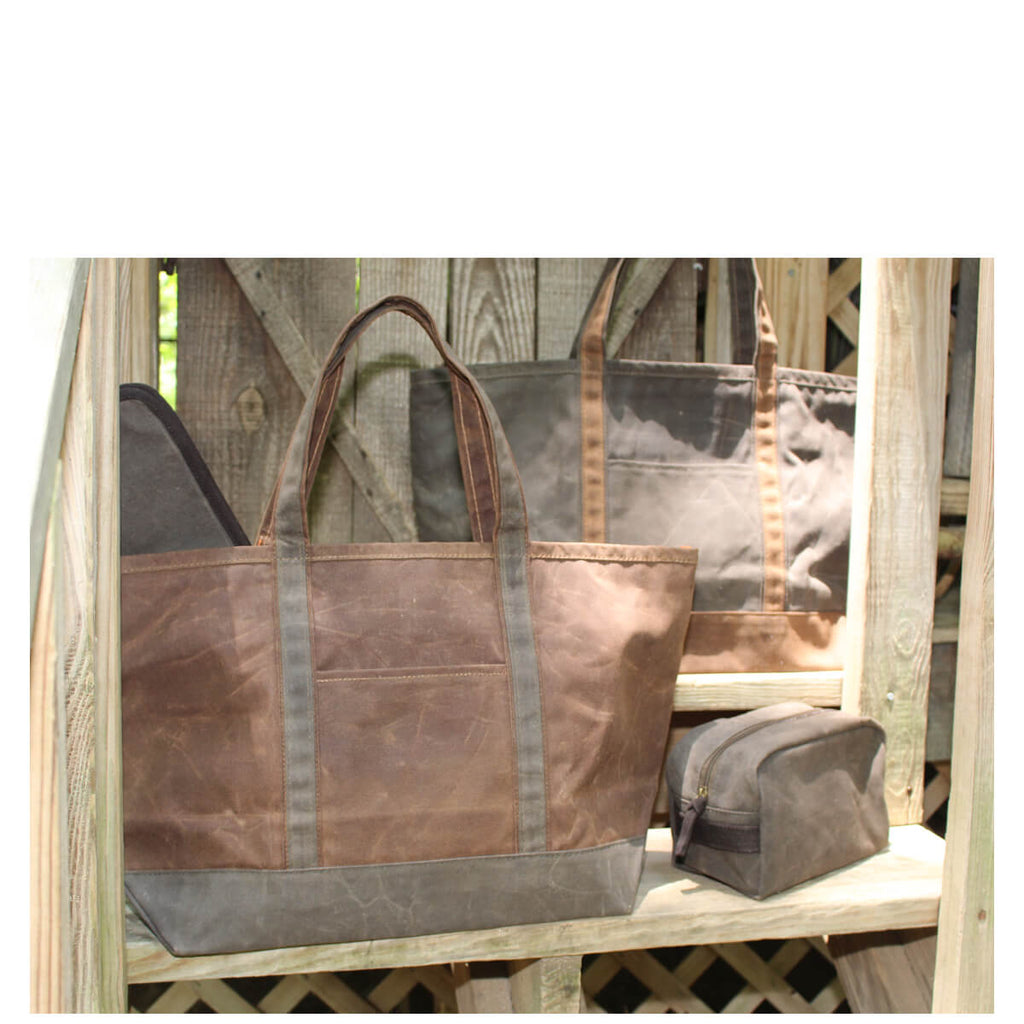 Personalized Waxed Canvas Large Boat Tote Bag