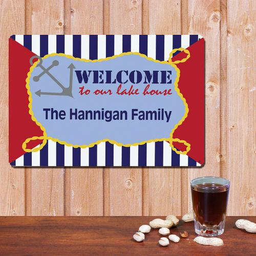 Personalized Family Lake House Wall Sign