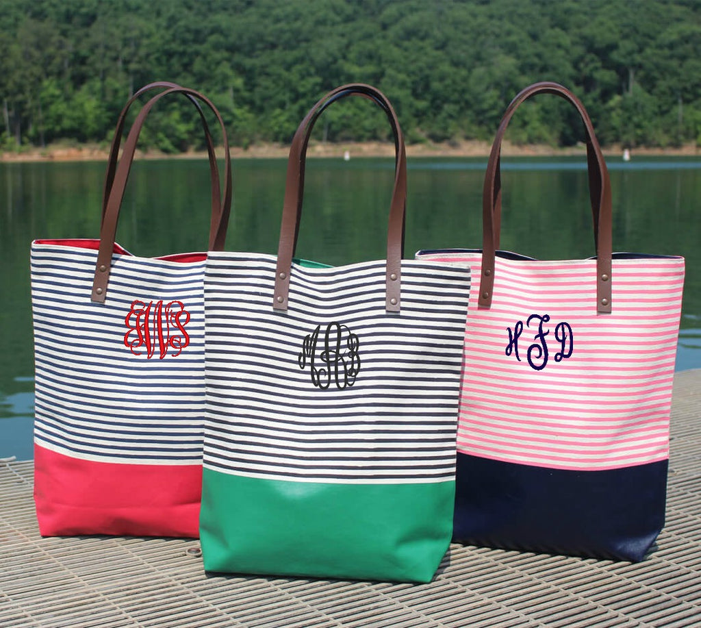 Personalized Seaport Stripes Dipped Tote Bag