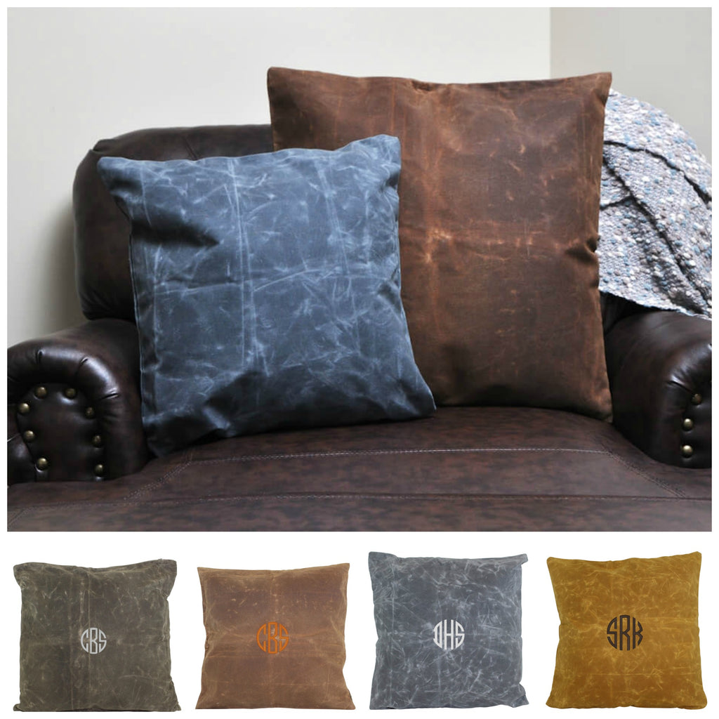 Personalized Waxed Canvas Square Pillowcase 24 x 24