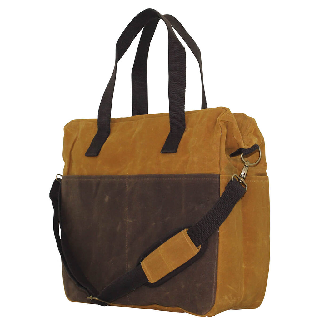 Personalized Waxed Canvas Multi-Pocket Travel Tote Bag