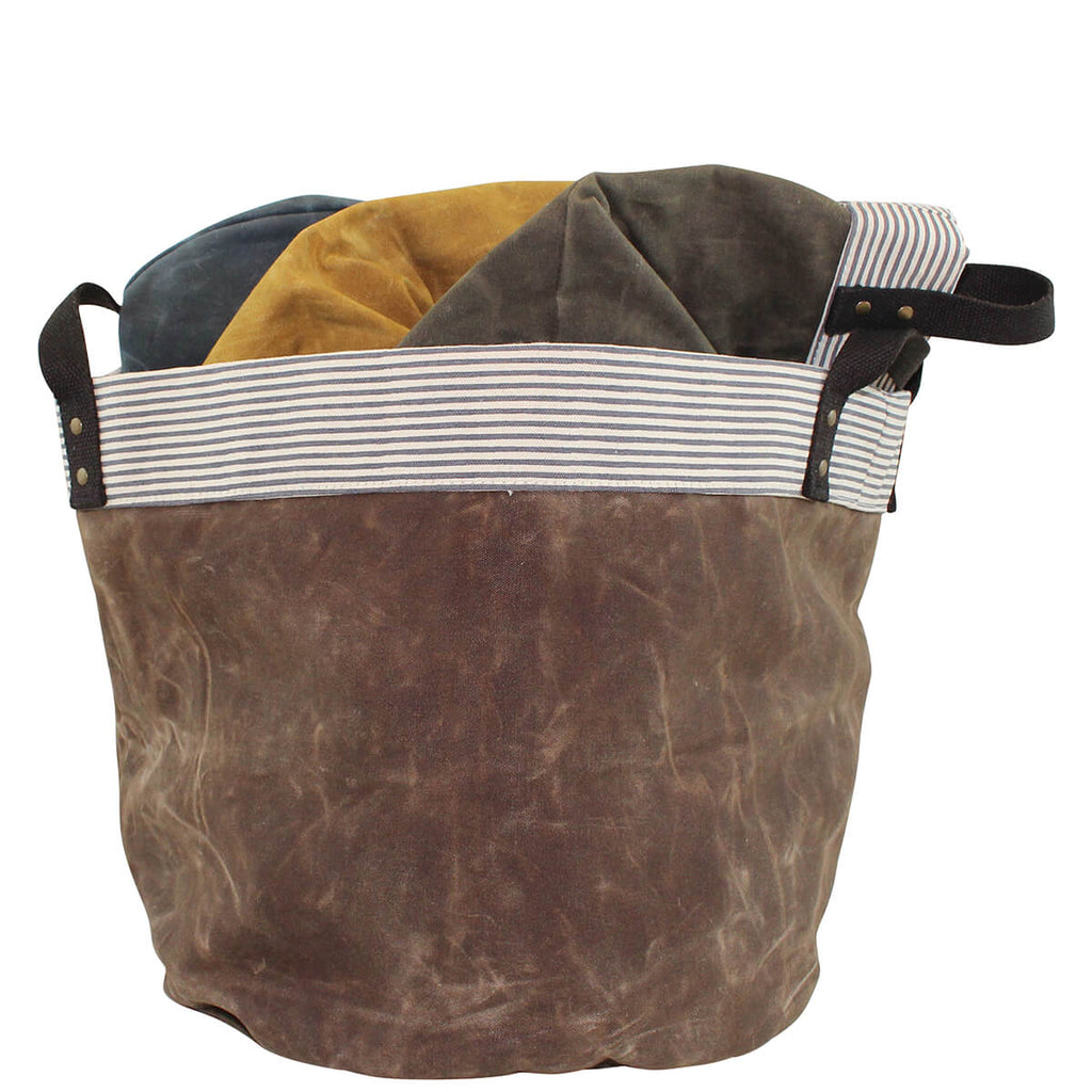 Personalized Waxed Canvas Round Bottom Storage Tub Medium