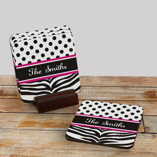Personalized Zebra Pink Drink Coasters