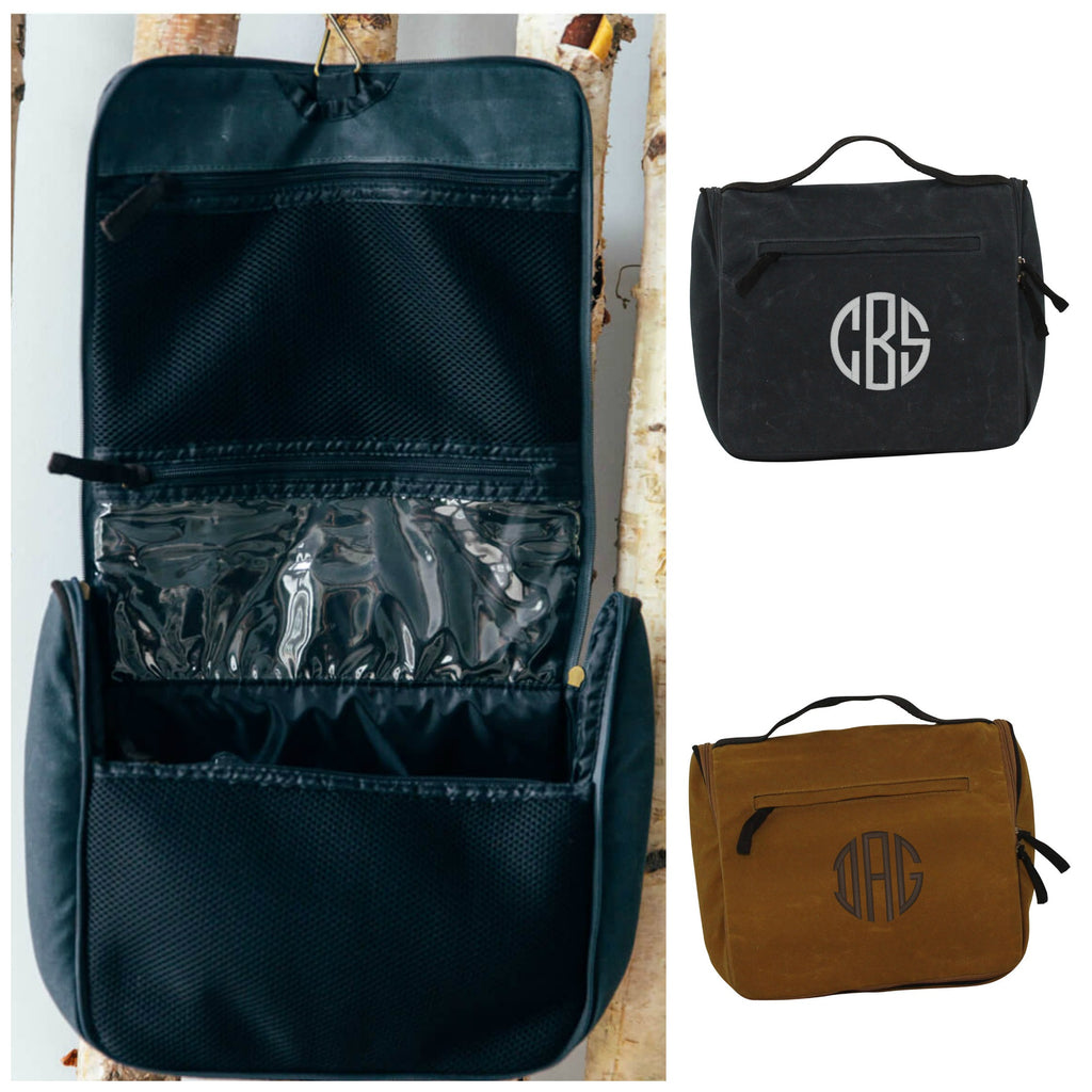 Personalized Waxed Canvas Hanging Travel Kit