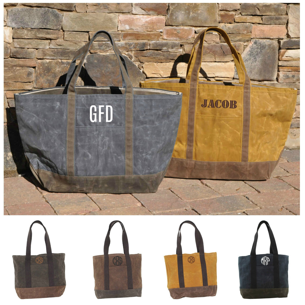 Personalized Waxed Canvas Medium Boat Tote Bag