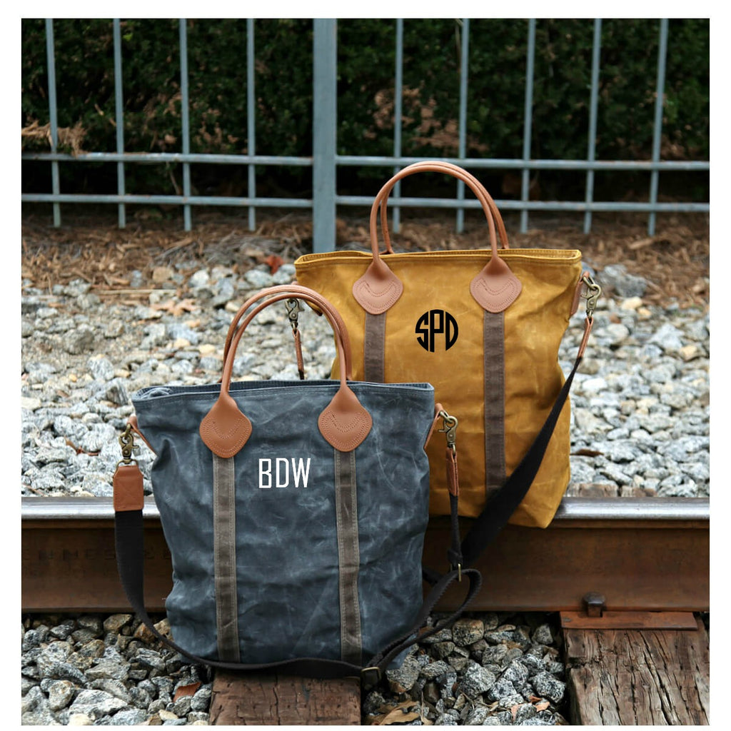Personalized Waxed Canvas Flight Travel Bag