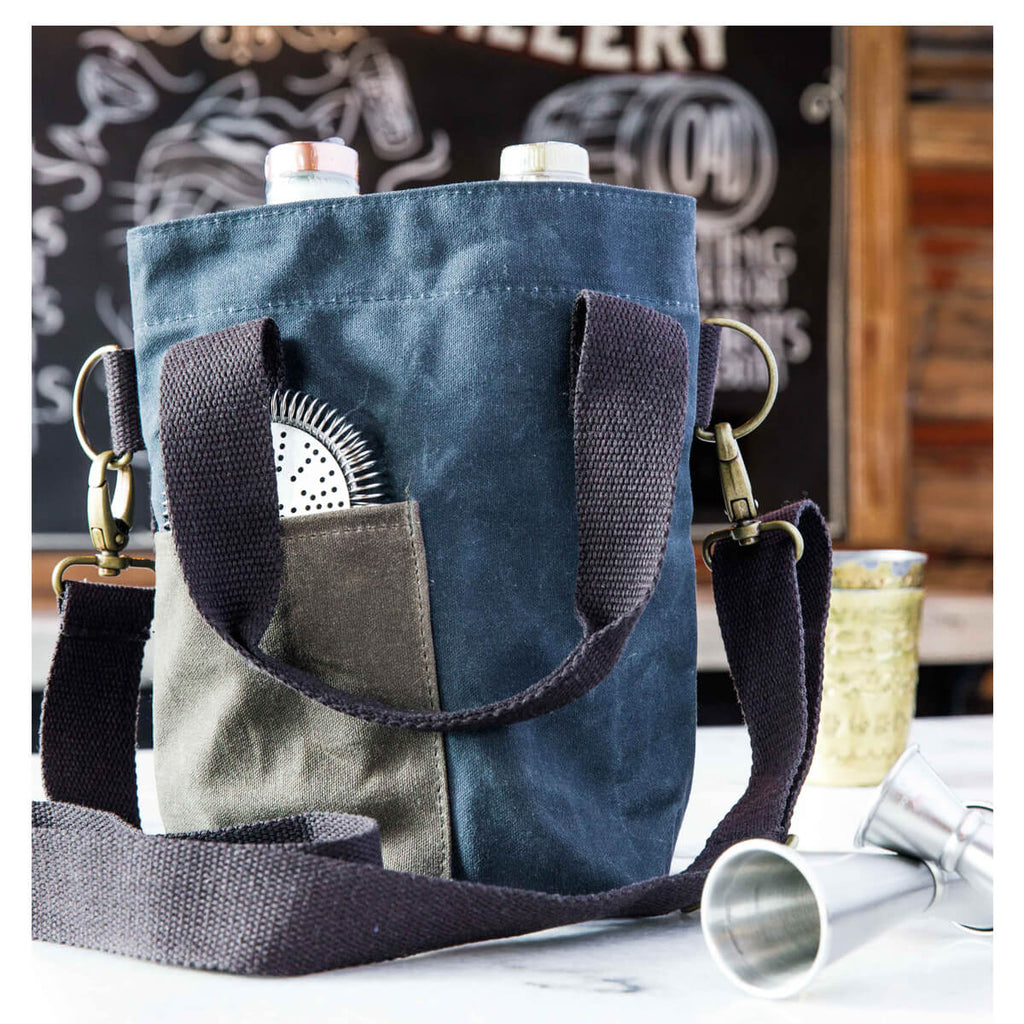 Personalized Waxed Canvas Double Wine Bottle Tote Bag