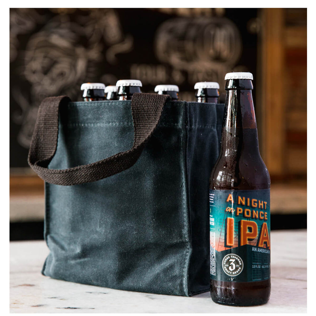 Personalized Waxed Canvas 6-Pack Beer Bottle Carrier