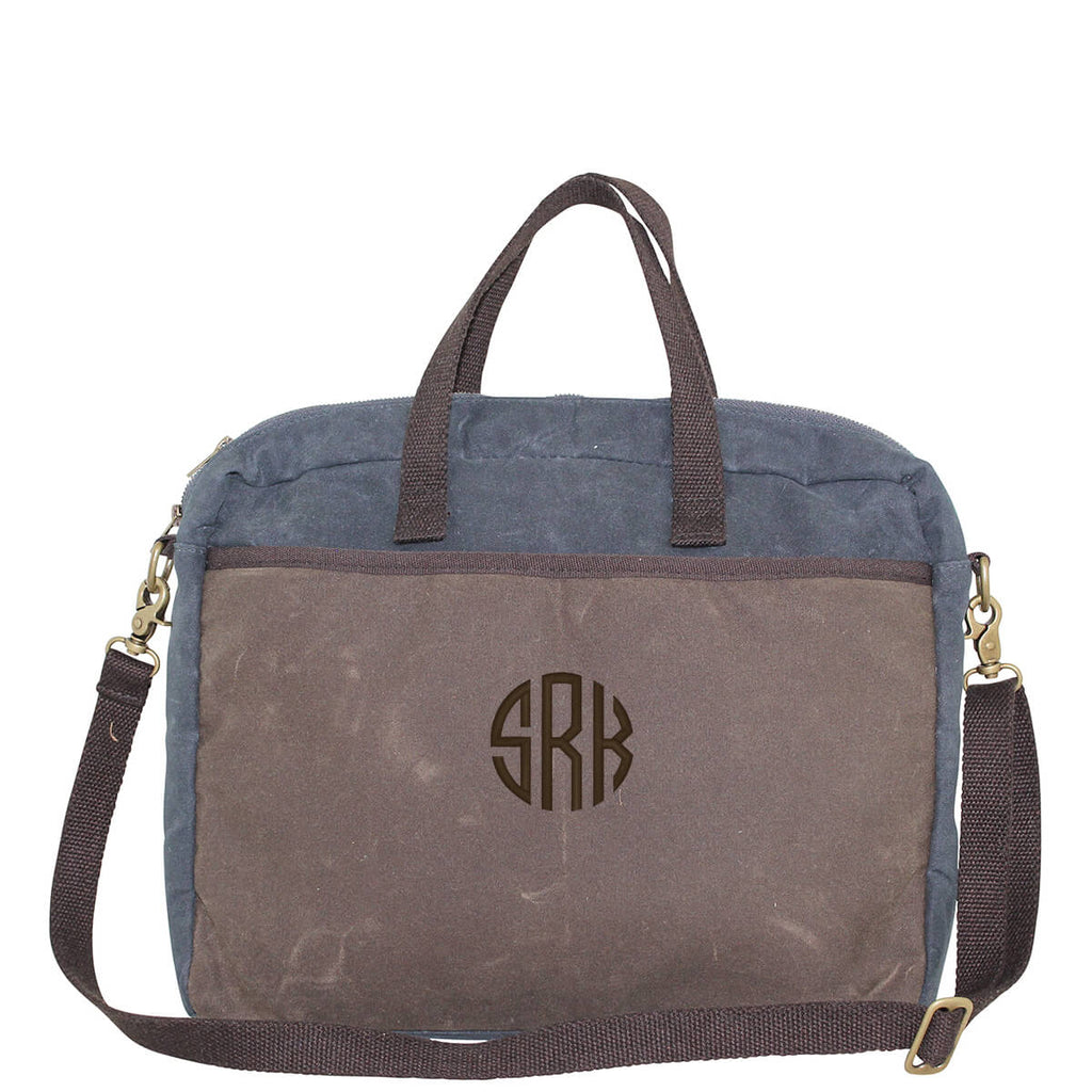 Personalized Waxed Canvas Slim Laptop Carrier Bag