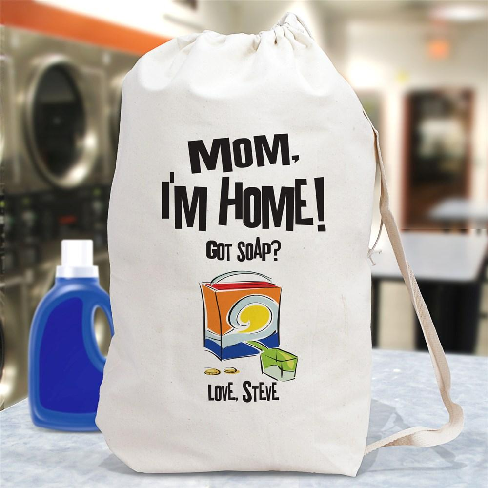 Personalized Mom, I'M Home Laundry Bag