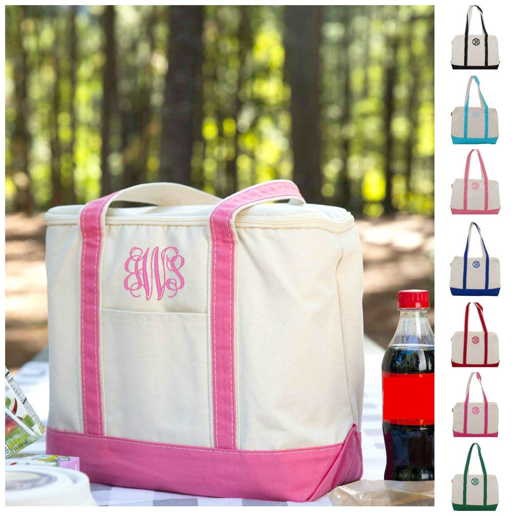 Personalized Large Canvas Cooler Bag - Insulated Lunch Tote Bag