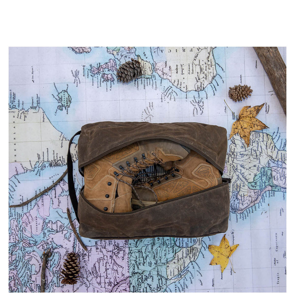 Personalized Waxed Canvas Travel Shoe Bag