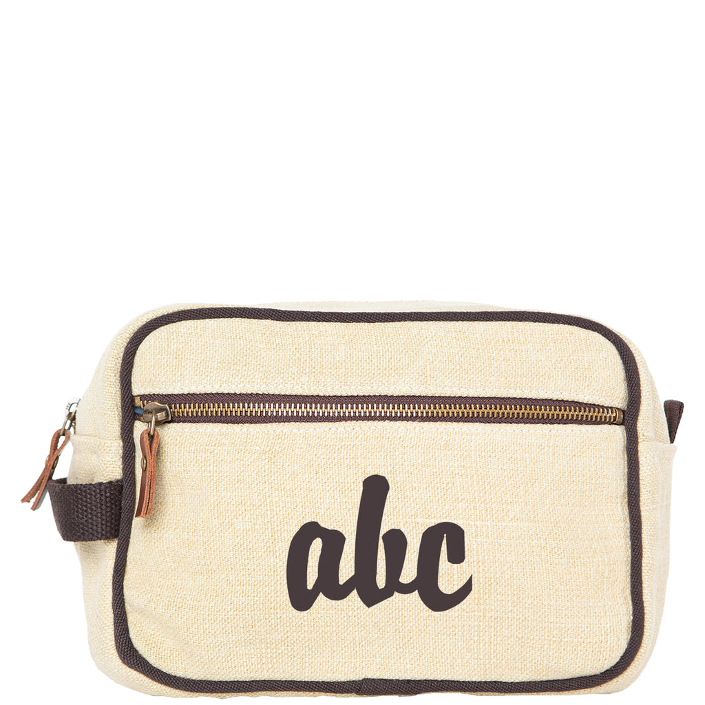 Personalized Jute Travel Kit Cosmetic Bag