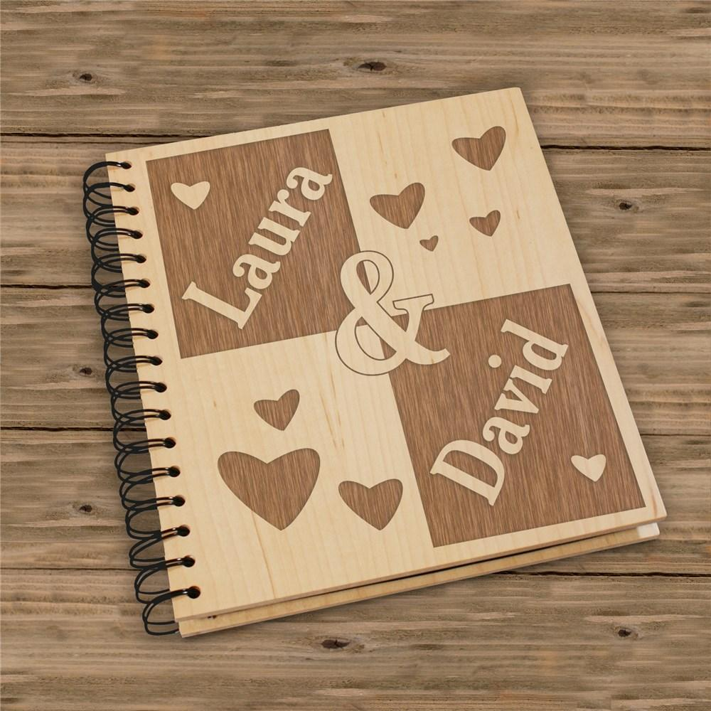 Personalized Engraved Couple's Wood Photo Album