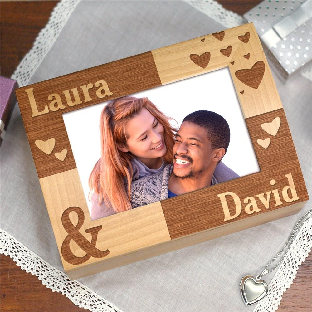 Personalized Engraved Couples Photo Keepsake Box - Valentine's Day Gift