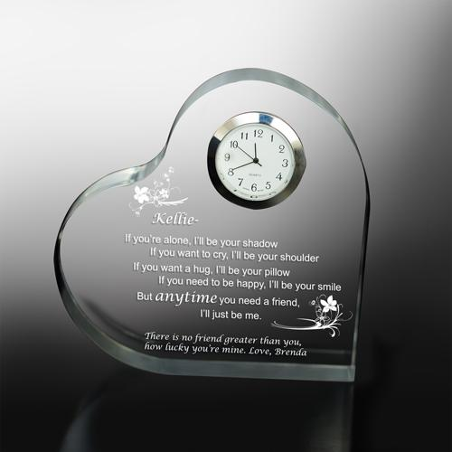 Personalized Friendship Keepsake Heart Clock - Anytime You Need A Friend