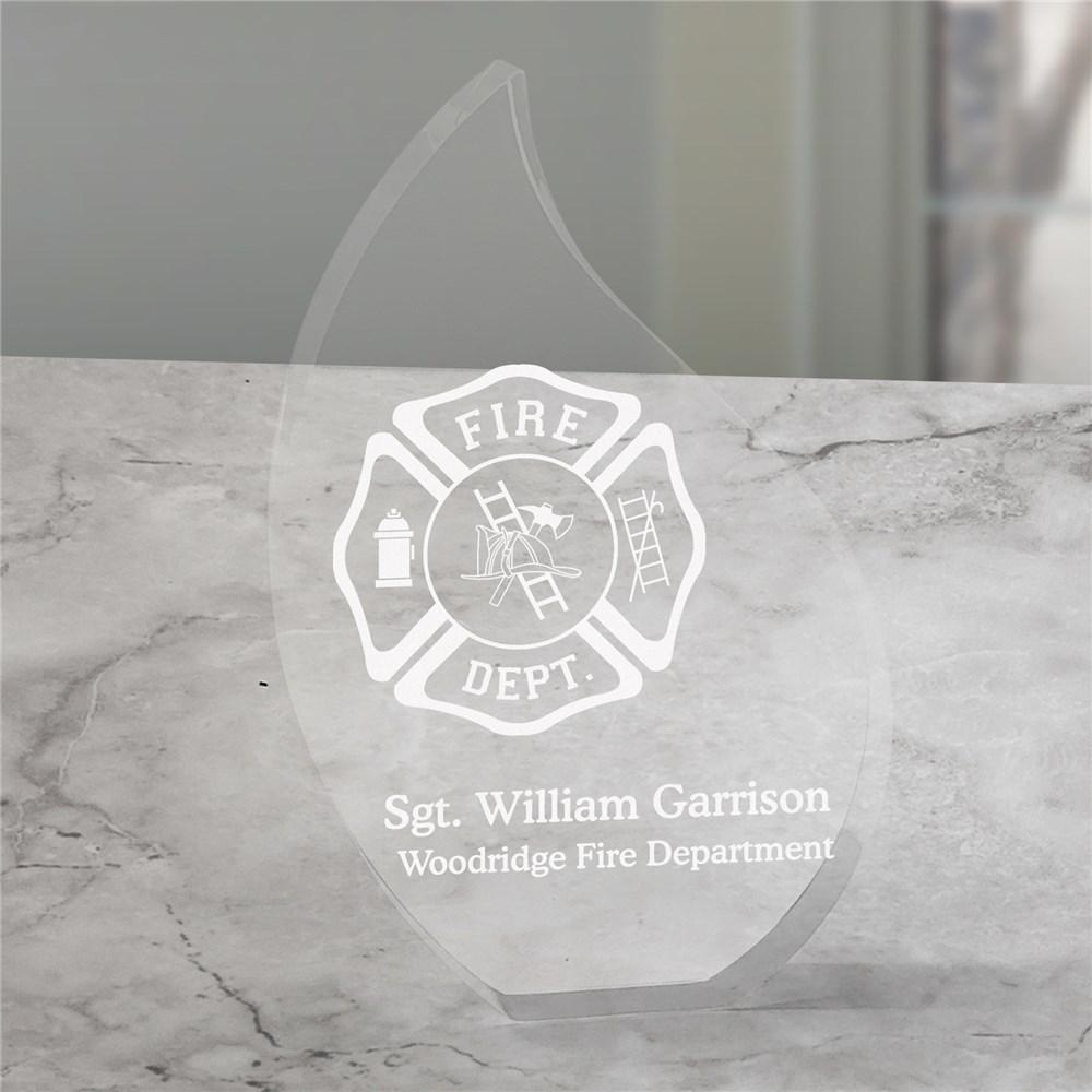 Personalized Firefighter Flame Keepsake