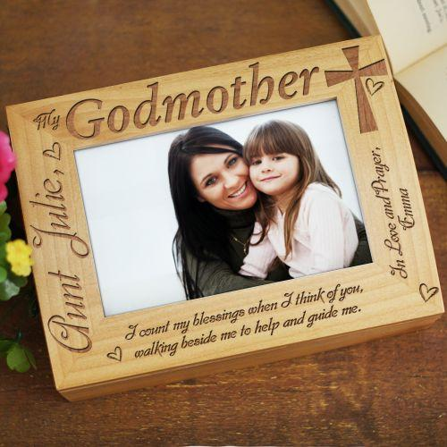 Personalized Engraved Godparent Wood Photo Keepsake Box