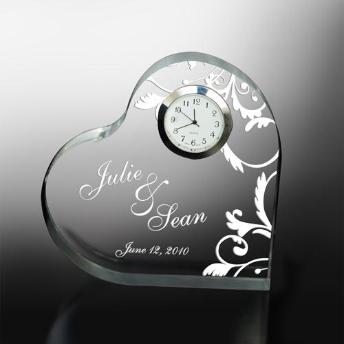 Personalized Engraved Couples Heart Clock Keepsake
