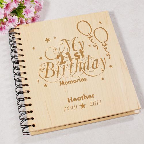 Personalized Engraved 21st Birthday Memories Photo Album