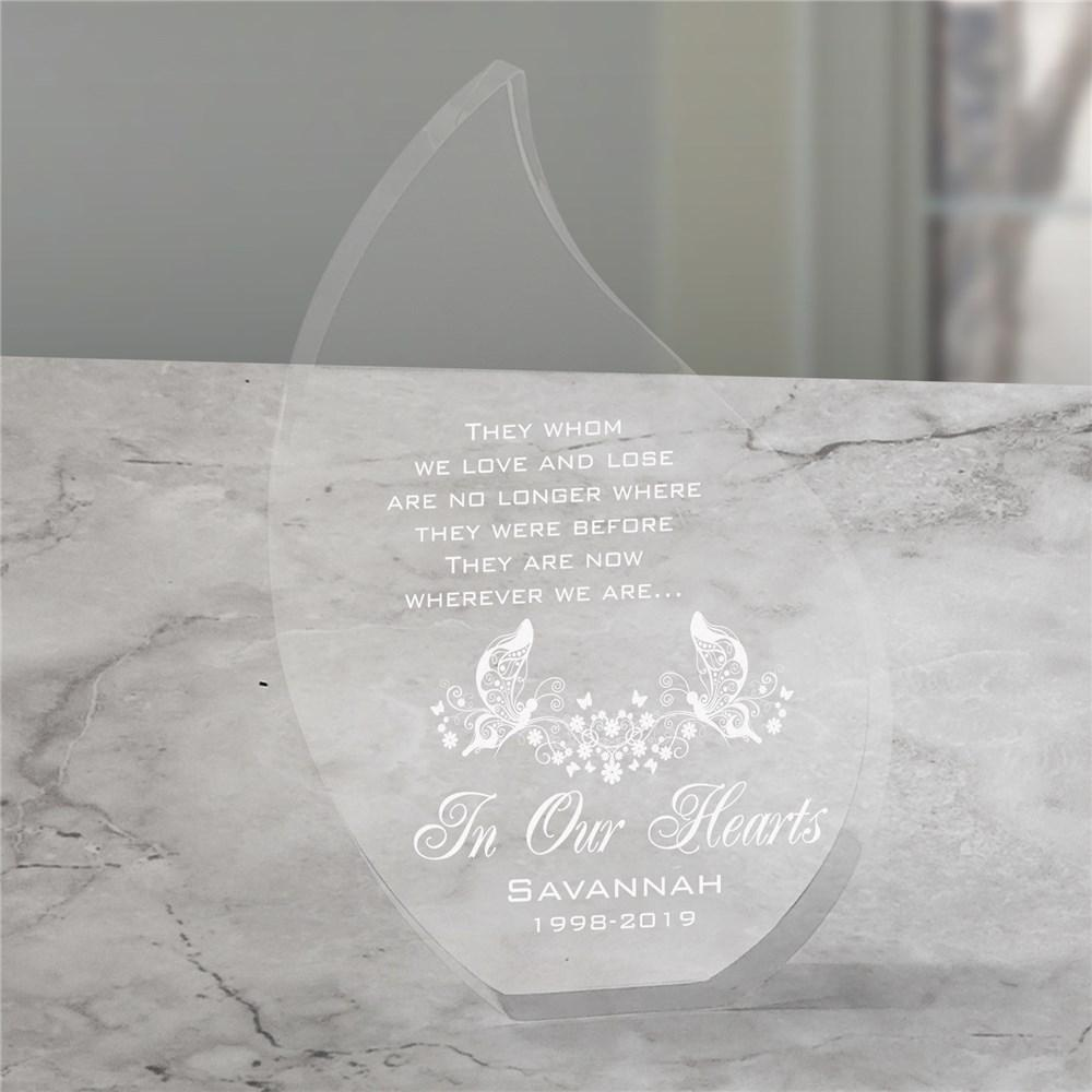 Personalized Engraved In Our Hearts Memorial Tear Keepsake