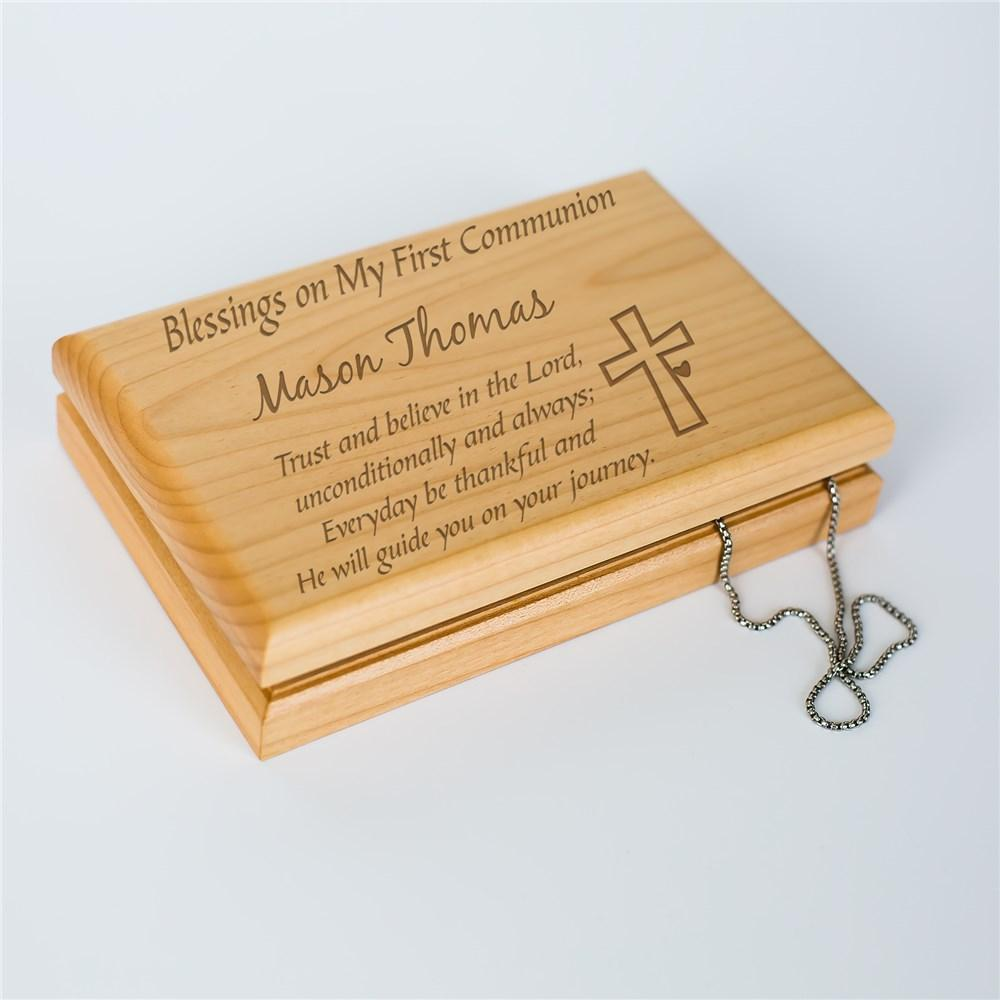 Personalized Engraved First Communion Valet Box