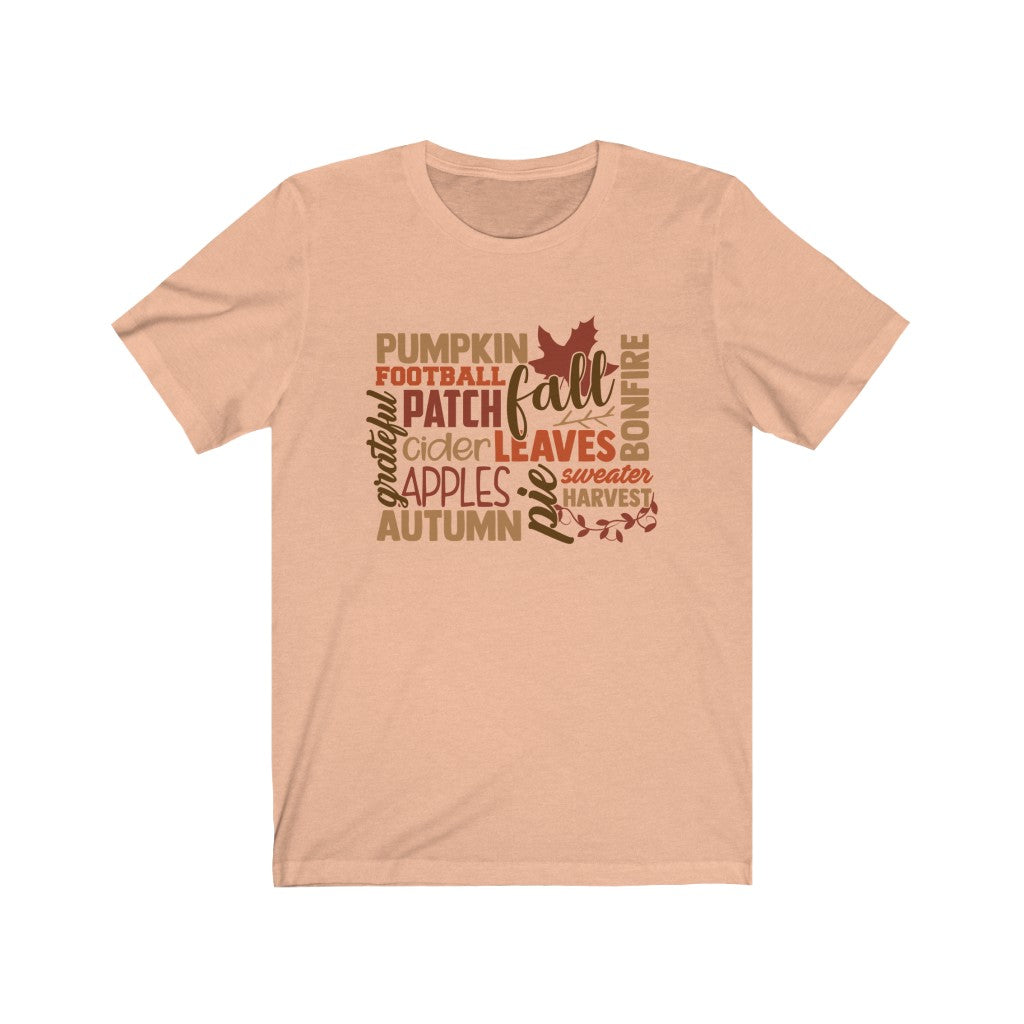 Autmn Word Art Fall T-Shirt - Short Sleeve Tee