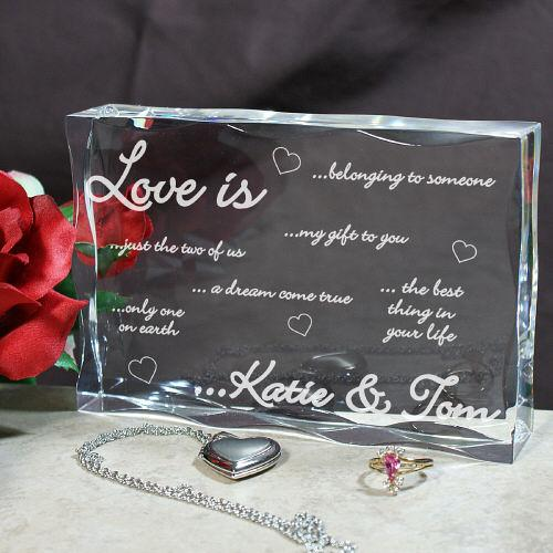 Personalized Engraved Love Is...Keepsake Block - Valentine's Day Gift