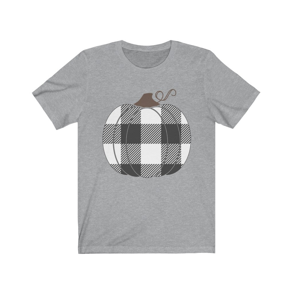 Buffalo Check Black Pumpkin Fall T-Shirt - Short Sleeve Tee