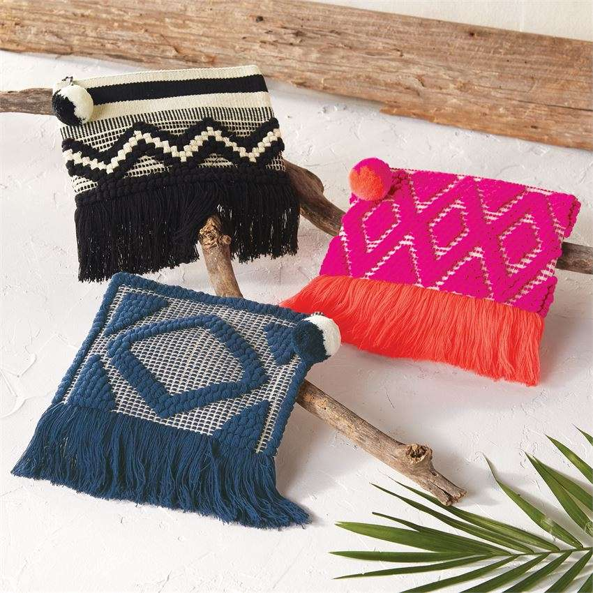Woven Fringe Clutch by Mud Pie